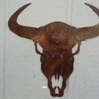 "Cow Skull Solid Metal Wall Art 25"" w x 25""L Antique Copper Country Rustic Home Decor"