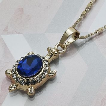 Gold Layered Women Turtle Fancy Necklace, with Sapphire Blue Crystal, by Folks Jewelry