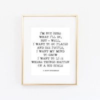 I'm Not Sure' F. Scott Fitzgerald Quote Print
