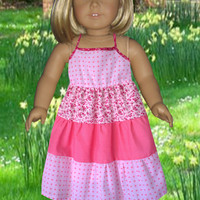 American girl doll clothes, 18 inch doll dress, Girls Christmas gift, Girls Birthday gift,Pink summer doll dress