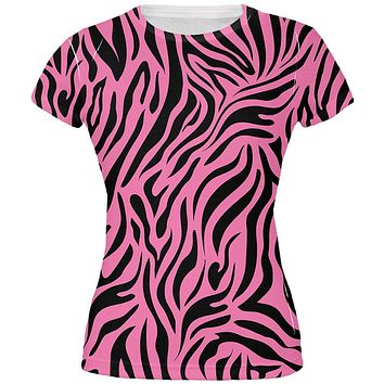 Zebra Print Pink All Over Juniors T-Shirt