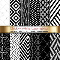 Black & White Geometrics: Geometric Digital Paper 12x12 Scrapbooking Papercrafting Cardmaking Crafting Invites - Instant Download Printable