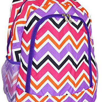 Purple Multi Chevron Print Backpack or Bookbag
