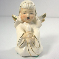 Vintage White Ceramic Angel with Candle, Gold Trimmed - Made in Japan