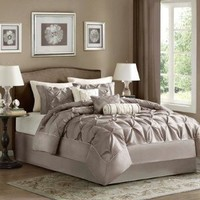 Madison Park Laurel Comforter Set, Queen, Taupe
