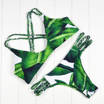 Triangle Sexy Women Push Up Bikini Brazilian Palm Leaf Printed Swimsuit Beachwear Female Strappy Swimwear Thong Micro Bikini