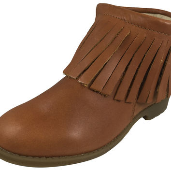 Old Soles Girl's 2012 Ever Boots Tan Leather Fringe Zipper Bootie Shoe