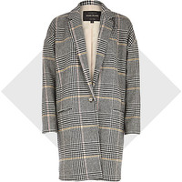 River Island Womens Black check oversized coat
