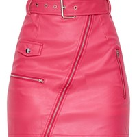 Fuchsia Biker Belted Mini Skirt