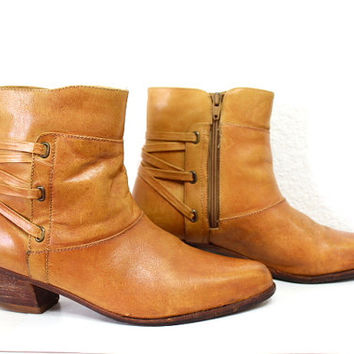 Vintage Tan Leather Shoes Stacked Wooden Heel Made in Brazil Ankle Boots Men 9.5D