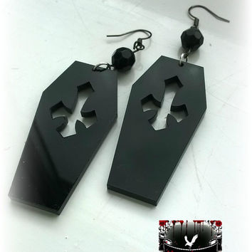Gothic Black Acrylic coffin tomb stone cross drop earrings