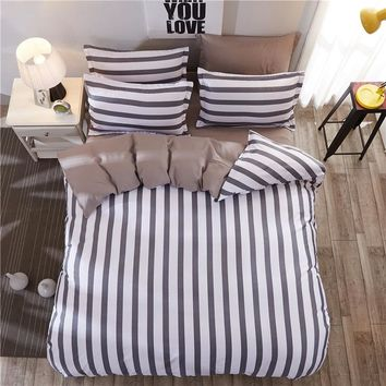 Hot Fashion Stripe Individual Chemical Fiber Bedding Set Colorful Bed Set Pillowcase Bed Sheet Duvet Cover For Home Bedroom 4PCS
