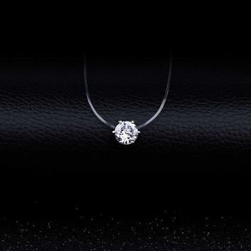 Silver color 6 Claw Dazzling Zircon Necklace And Invisible Transparent Fishing Line Simple Pendant Necklace Jewelry
