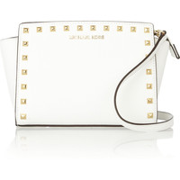 MICHAEL Michael Kors | Selma studded textured-leather shoulder bag  | NET-A-PORTER.COM