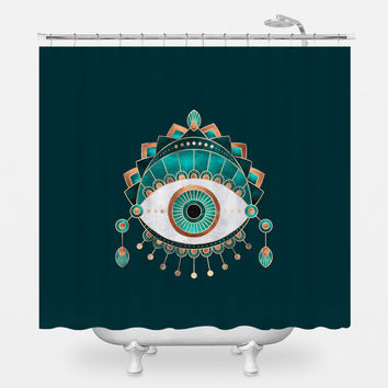 Teal Eye Shower Curtain
