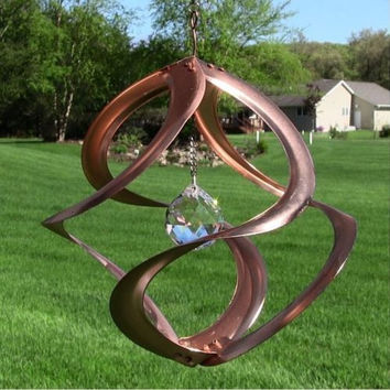 Decorative Copper & Crystal Wind Spinner