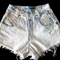 Vintage Upcycled High Waisted Jean Shorts 80s 90s Ombre Light Wash Small Medium #13 Super 80s!