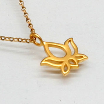 Lotus Flower Necklace in Gold Filled and Vermeil, Tiny Lotus, Simple, Delicate, Blooming Flower