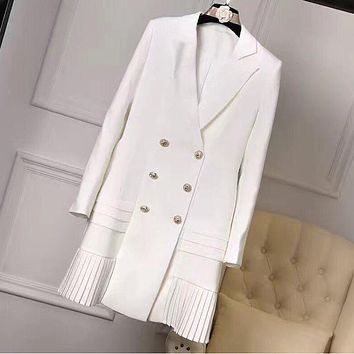 HIGH QUALITY New Fashion 2017 Runway Designer Dress Women's Long Sleeve Notched Collar Double Breasted Buttons Dress