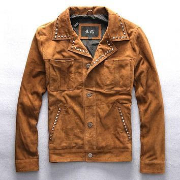 new men's suede leather mens clothing coat sheep leather vintage rider jacket