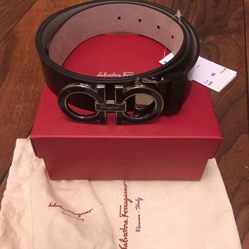 SALVATORE FERRAGAMO NERO CALF MEN'S BELT 67 8867 SIZE 44 /110CM - NEW IN BOX