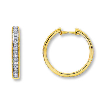 Diamond Hoop Earrings 1/4 ct tw Round-Cut 10K Yellow Gold