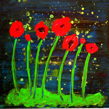 "Midnight Poppies Acrylic Painting Original Art 10"" x 10"" SFA"