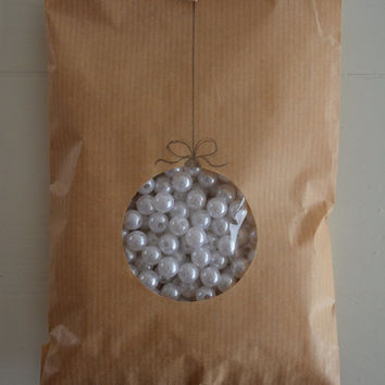 Kraft paper bag with a round window set of 20 natronkraft bags complete with cellophane bag--- Party favors, birthday party or wedding favor