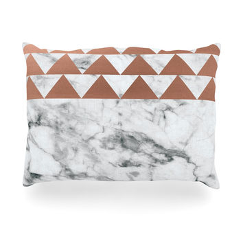 "KESS Original ""Marble & Metal"" White Copper Oblong Pillow"