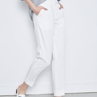 Mid Waist White Straight Crop Pant