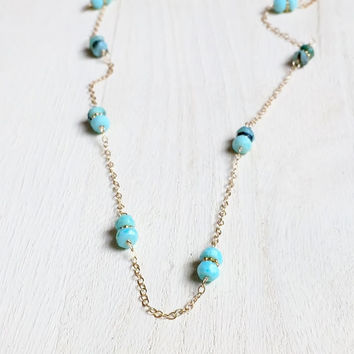 Beautiful, Peruvian Blue Opal Rondelles in 14k Gold Fill, Gemstone Station Necklace, Blue Opal Necklace, Handmade Gift, Gemstone Necklace