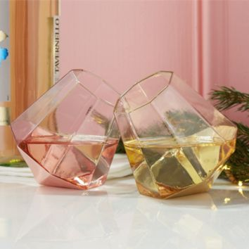 Shine Bright Like a Diamond Stemless Wine Glasses in Gold or Rose Gold