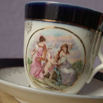 antique flow blue tea cup and saucer set, 1920's German porcelain tea set, maidens cherub lesbian, demitasse cup wedding gift