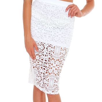 Too Beautiful Midi Pencil Skirt - White