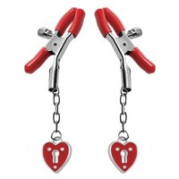 Crimson Tied Heart Padlock Nipple Clamps