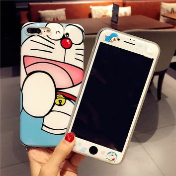 Hello Kitty case For iphone 8 8Plus Jingle cat TPU Cover+Tempered Glass Screen Protector Case for iPhone 6 6S 6sPlus /7 7 plus