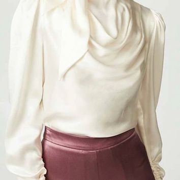 No More Tears Long Puff Sleeve Tie Mock Neck Draped Blouse Top - 2 Colors Available