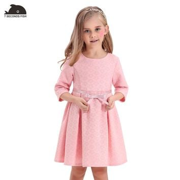 Girls Dress autumn & spring Jacquard Baby Kids Flower Butterfly Ribbon A-line girl vestidos Autumn baby clothes