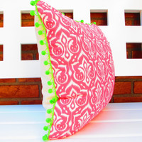 Boho Pink Ikat Pillow Cover pink and green boho chic cushion pom poms, bohemian decor bright colorful retro preppy pillowcase, eclectic home