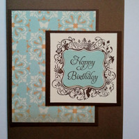 Happy Birthday Elegant Aqua and brown and Peach by SkyGirlCards