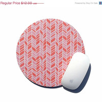 SALE Herringbone Mouse Pad / Pink and White / Round Mousepad / Office Home Decor / Holiday Gift