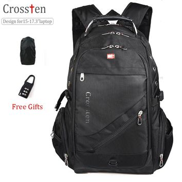 "Crossten Swiss Military Army Travel Bags Laptop Backpack 15.6"" 17""  Multifunctional Schoolbag Waterproof  Notebook Computer bag"