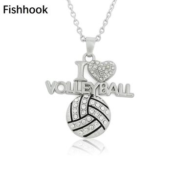 Fishhook Christmas birthday volleyball gifts love volleyball Bling Bling crystal pendant necklaces