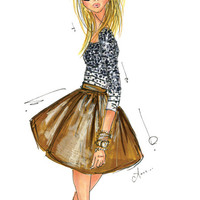 Fashion Illustration Print, Stripes and Sequins