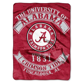Alabama Crimson Tide NCAA Royal Plush Raschel Blanket (Rebel Series) (60x80)