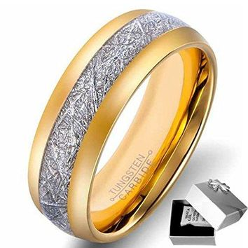 Unisex 8mm Titanium Stainless Steel 18k Gold Ring Channel Set Cubic Zirconia Engagement Wedding Band