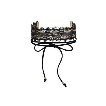 Wanna Rock All Night Choker in Black and Gold