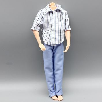 1set Casual Wear Plaid Doll Clothes Pants Trousers For Barbie Ken Doll boy friend toy gift eg037