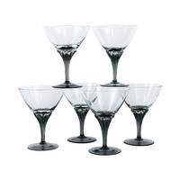 Vintage Martini Glasses, Smokey Stems, Crystal Cocktail Coupes, Blown Glass Stemware