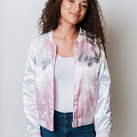 Playboy Pink Satin Bomber